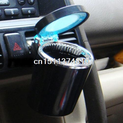 Portable Car LED Light Ashtray Auto Travel Cigarette Ash Holder Cup Black Useful ashtray