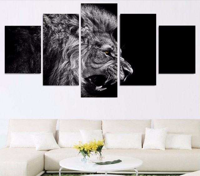 High Quality No Frame HD Printed Lion White Black Painting Canvas ...