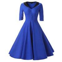 Women Retro Pleated Dresses Audrey Hepburn 50s Patchwork Plus Size Vintage Dresses Summer Half Sleeve V