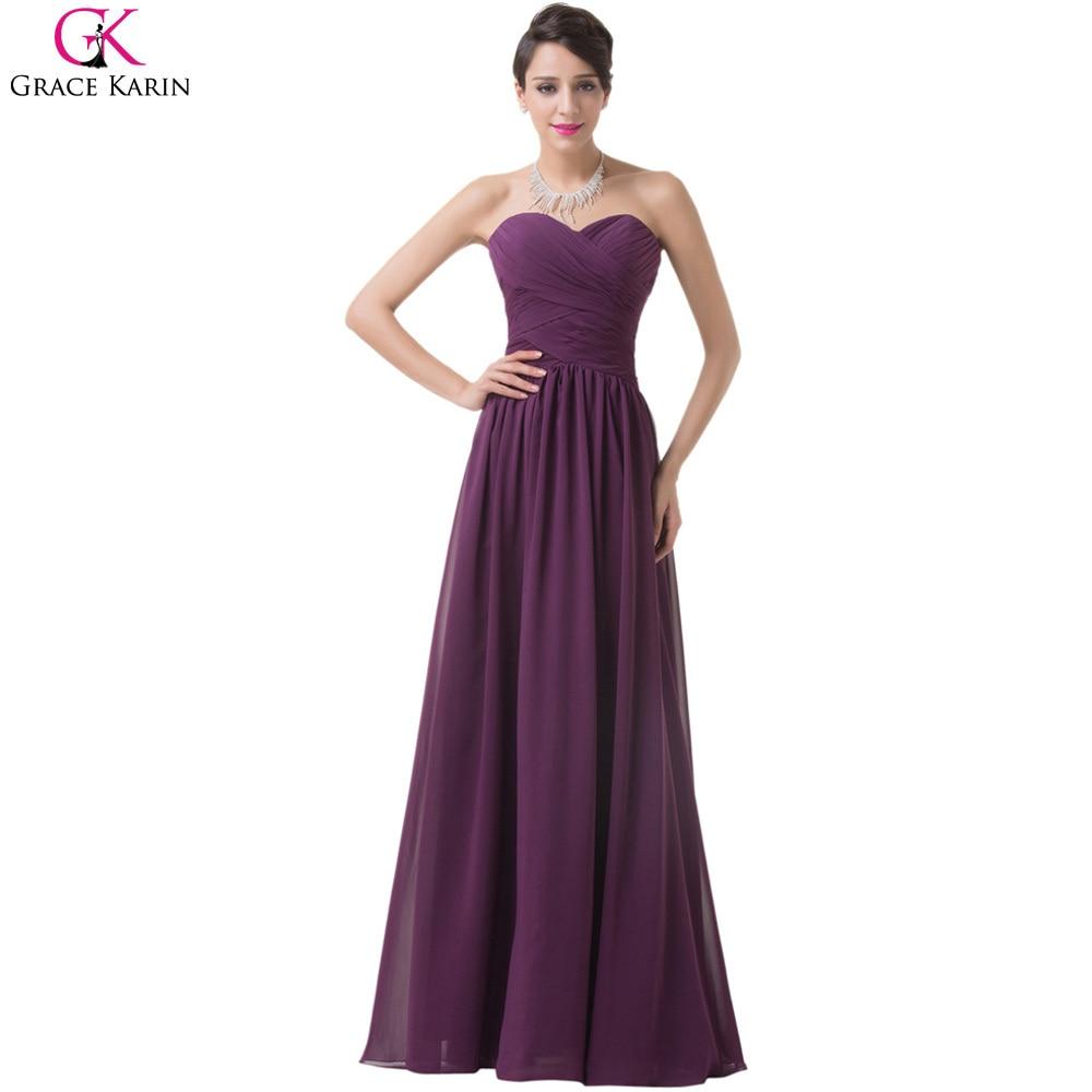Grace karin uva púrpura damas de honor vestidos de novia de la gasa ...