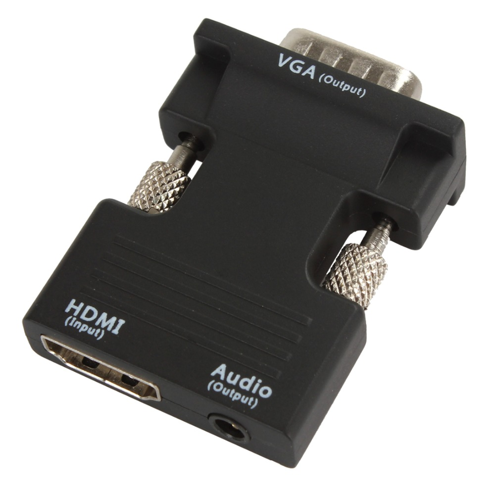 Ultra Small HDMI Male to VGA Female Converter with Audio Adapter Support 1080P Signal Output