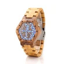 Diseñador de la marca Para Hombre Relojes De Madera Reloj de La Visión Nocturna Digital Calendario Reloj LED Reloj para Hombres De Bambú Pantalla de Tiempo Mínimo