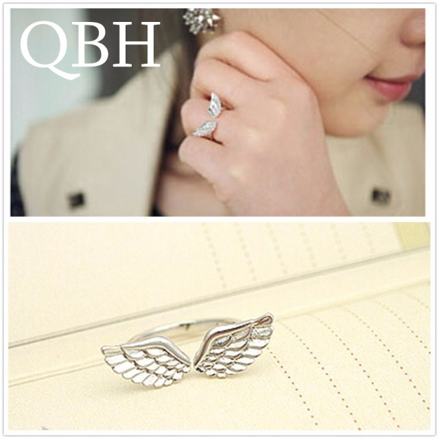 G163 Hot Anillos Girl Bijoux New Fashion Angle Wing Finger Ring For Women Jewelr