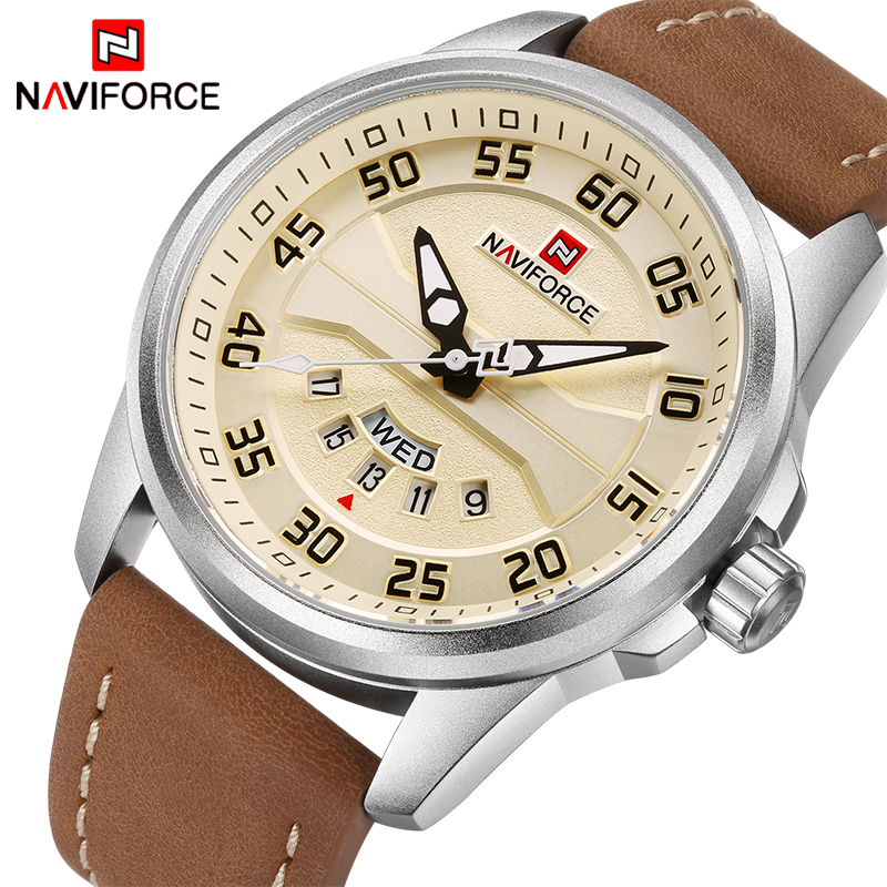 NAVIFORCE Brand Men Sports Watches Men's Quartz Date Clock Man Leather Strap Military Waterproof Wrist watch relogio masculino brand relogio masculino date day clock men leather strap wrist military sports watch men fashion casual quartz watches