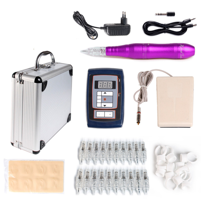 Permanent Makeup Pen Kit Purple Eyebrow Hybrid Tattoo Pen Rotary Tattoo Machine+Power Supply+20Needle Cartridge For Body Art hot dragon makeup machine pen permanent eyebrow lips machine with power supply adapter