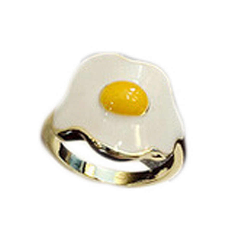 Newest Beauty Fashion Gift Latest Handmade  Personality Luxury  Popular  Yellow Fried Eggs  Ring Item