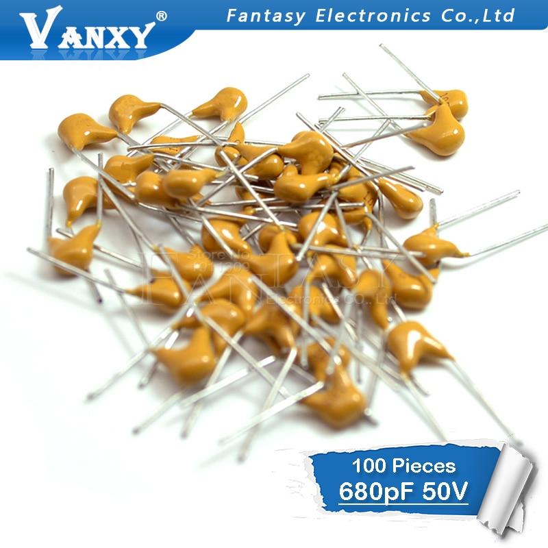 100PCS 680PF 5% 5.08MM 681 50V 680P MLCC Multilayer Monolithic Ceramic Capacitor 0805