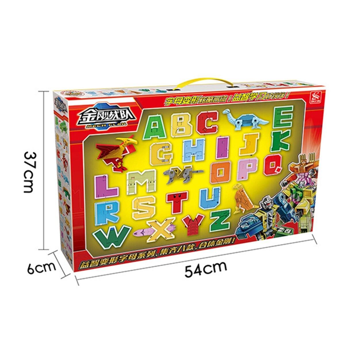 26 pièces lettre anglaise Robot déformation Alphabet Transformations Puzzle dinosaure Robot bricolage blocs de construction enfants jouets éducatifs - 4