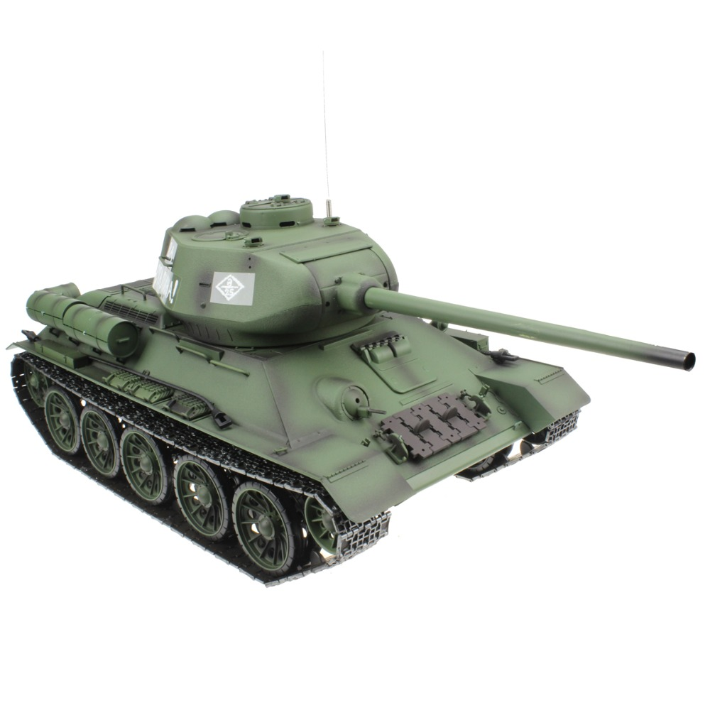 2.4G 1/16 Russian Army T34 T-34/85 RC Battle Tank Shooting Smoking Sounding Effect Great Patriotic War Model Gift Toy 1 32 fov80318 russian t 34 85 tank