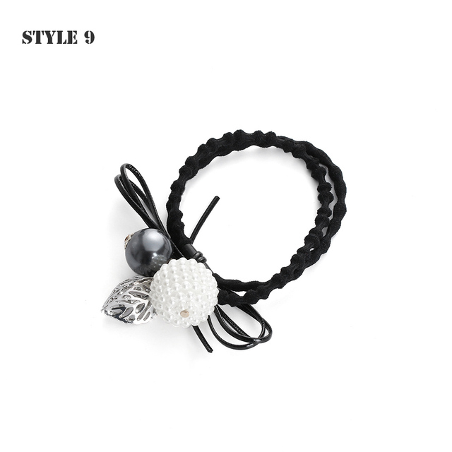 High Quality NEW Fashion Flower Pearls Hair Elastic Rope for Women Girls Elastic Hair Bands Horsetail Headwear Hair Accessories