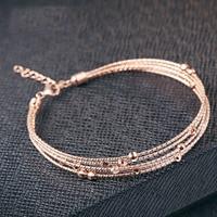 100% 925 Sterling Silver Jewelry Rose gold adjustable bracelet bangle charm for multilayer bracelet women XGL178