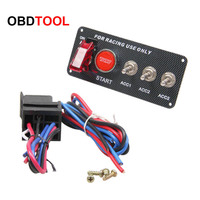 Universal Racing Car 12V LED Ignition Switch Panel 5 in 1 Engine Start Push Button LED Toggle Carbon Fibe 5in1 Power Switch New