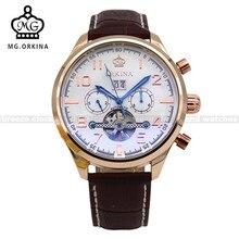 ORKINA Большой Циферблат Tourbillon Мужские Часы Кожаный Ремешок Авто Дата День Механическая Наручные Часы Montre Homme Мужской Часы Heren Horloges