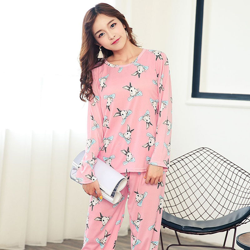 Women's   Pajamas     Sets   Autumn Cartoon Cute Sweet Fresh Casual Thin Soft Women Home 2018 Autumn Winter Fashion Sleepwear Suits