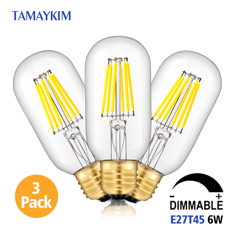 Dimmable E27 T45 LED Vintage Filament Tubular Light Lamp,6W 220V-240V,Clear Glass Retro Edison Bulb,Cold White Warm White,3 Pack dimmable 1w 2w 3w 4w 6w led vintage filament bulb t20 t25 t30 tubular style warm white 110v 220vac e26 e27