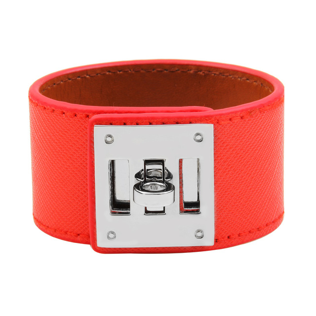2018 European Fashion Punk Wide Leather Bracelets & Bangles for Women Cuff Brace