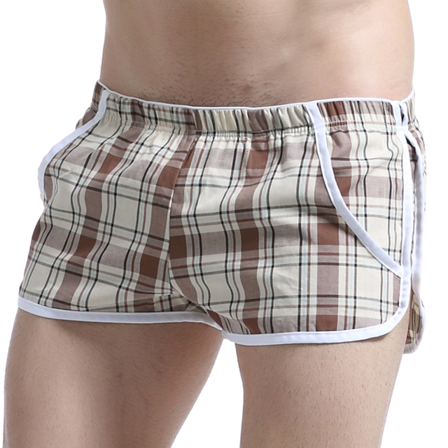 Fashion Plaid Cotton Man Big Pouch Inside Pajama Bottoms/Male Casual Home Sleep Shorts/Lounge Boxers
