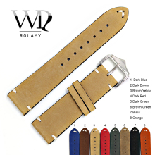 Rolamy Watch Band 20 22 24mm Leather Watchband For Rolex Omega Submariner Daytona Panerai Cowhide Suede Black Vintage Belt