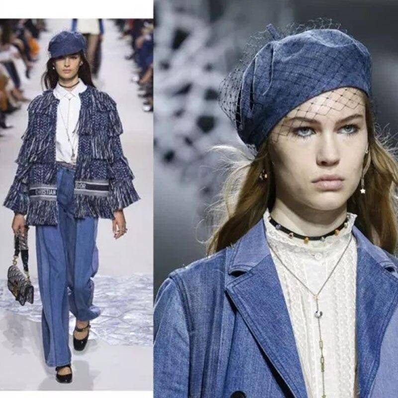 16313327c43 2018 New Trendy Women Birdcage Veils French Beret Winter Denim Beret ...