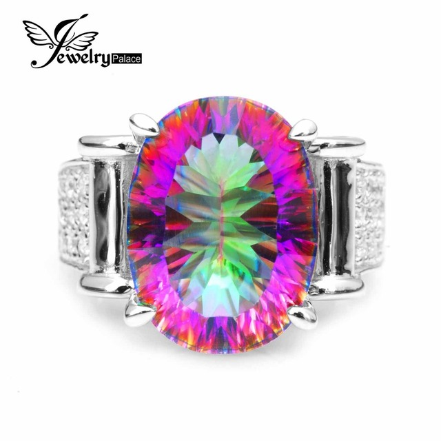 JewelryPalace 9.9ct Rainbow Fire Mystic Topazs Ring For Women Pure 925 Sterling Silver Fine Jewelry For Women Luxury Gift