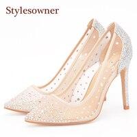 Stylesowner Mesh קריסטל משאבות עקבים דקים עקבים גבוהים נשים משאבות גבירותיי נעליים עקב גבוה רדוד הבוהן מחודדת אופנה קיץ בחורה