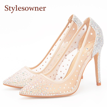 цена на Stylesowner Mesh Crystal High Heels Pumps Thin Heels Women Pumps  Ladies Girl Fashion Summer Pointed Toe Shallow High Heel Shoes