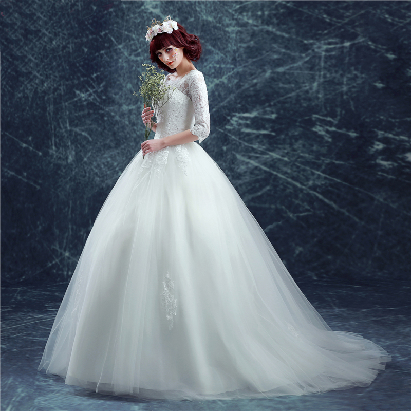 AXJFU Princess Bride lace wedding dress slim word small tail wedding ...