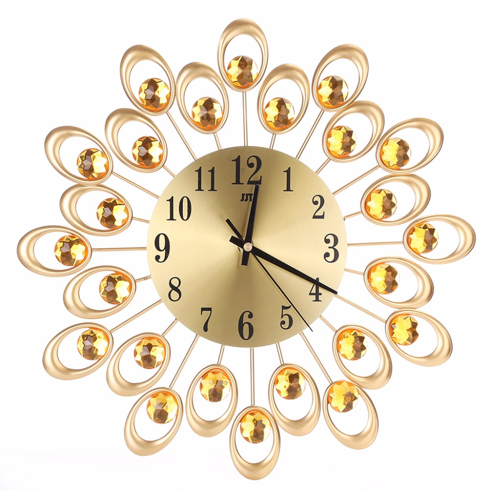 High Quality Modern Metal Wall Clock Diamond Rhinestone Iron Art ...