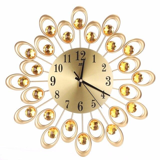 High Quality Modern Metal Wall Clock Diamond Rhinestone Iron Art ...