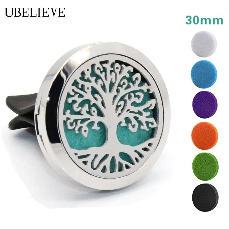 Tree of Life Auto Olio Essenziale Diffusore In Acciaio Inox 30mm Magnete Cava Aromaterapia Diffusore Auto Medaglione trasporto di Goccia