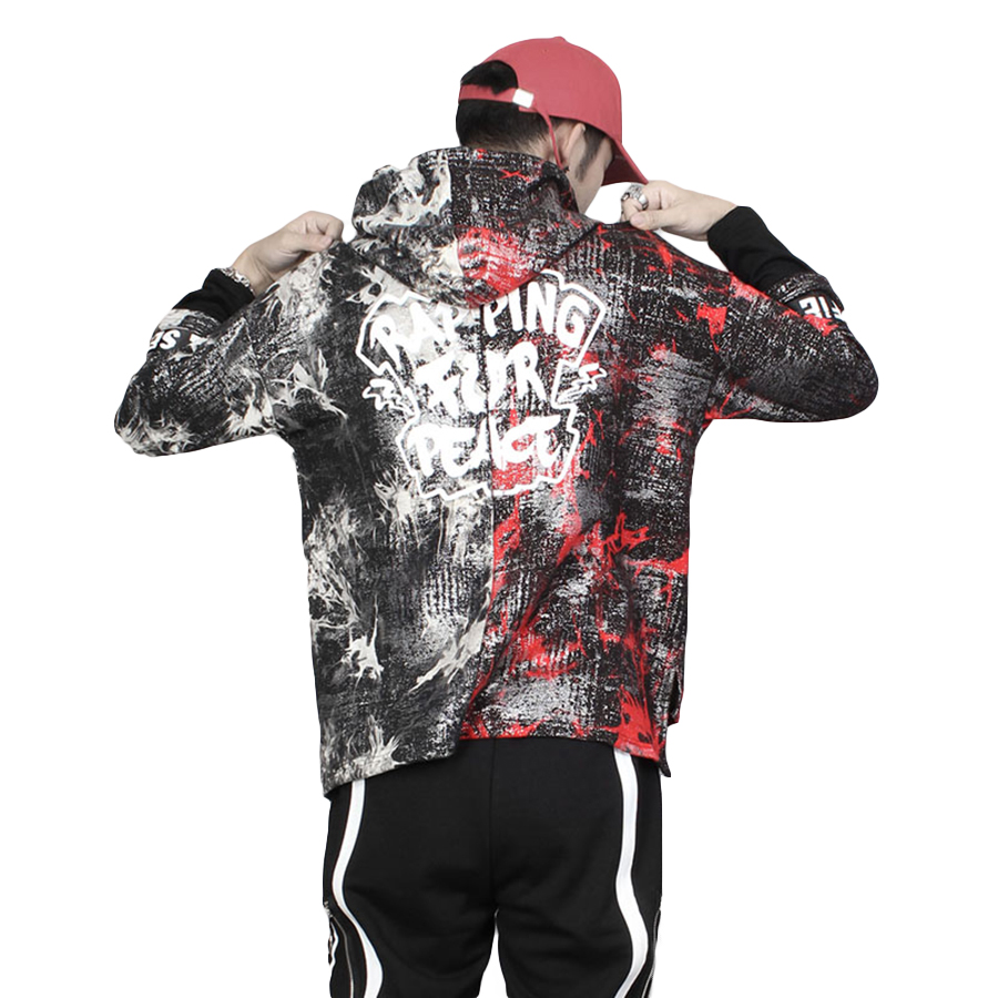 Graffiti sweat à capuche hommes Hip Hop Harajuku Streetwear Tie colorant Punk Rap Baggy Hoodies hommes chemise sweat-Shirt pull 5H001