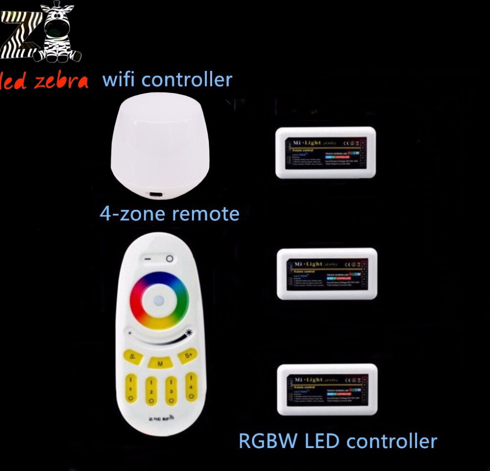 led controller mi.light 2.4g rf remote+wireless wifi ibox+3pcs rgbw 4-zone led controller for rgbw led strip lamp bulb