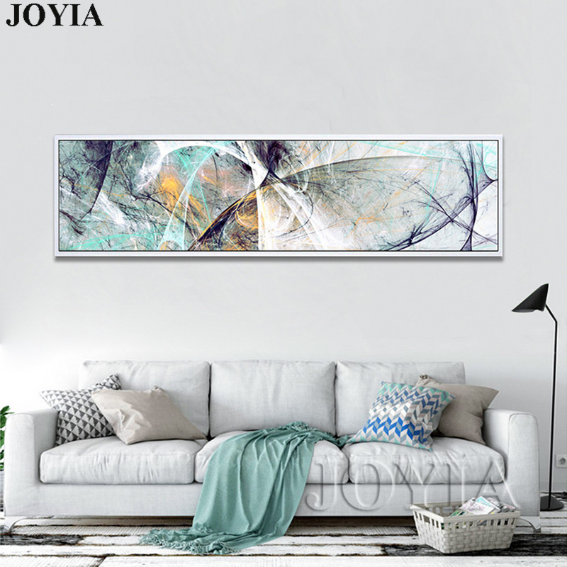 US $6.46 31% OFF|Modern Abstract Geometric Lines Decorative Painting Colors  Canvas Prints Large Horizontal Rectangle Bedroom Wall Art No Frame-in ...