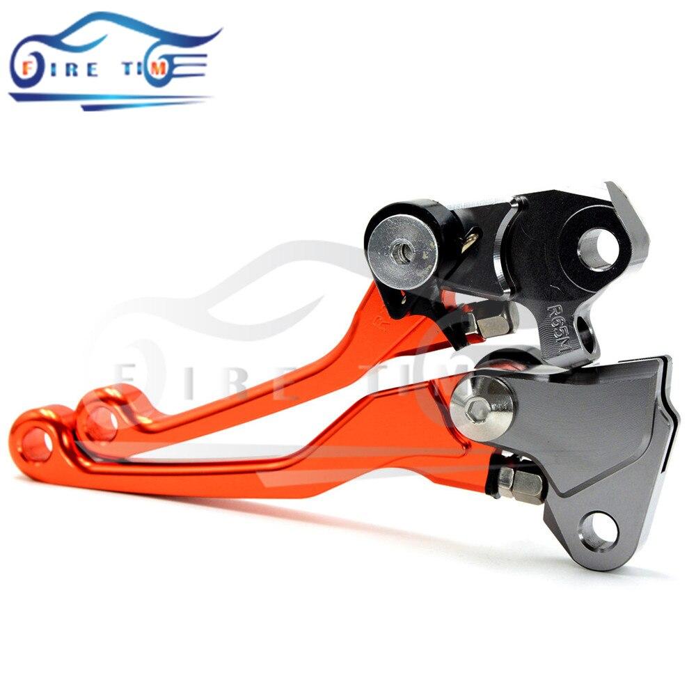 New Style Motocross Dirt Bike Billet Pivot Folding Brake Clutch Levers orange color For KTM 125SX 125 SX 2005 2006 2007 2008