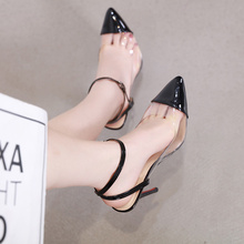 TTSDARCUPS Transparent High Heel Ankle Strap Sandals popular Europe America Sexy Night Club Pumps Plus Size 35-40 shoes woman new europe popular street beat rivet shoes high heeled catwalk sexy rome ankle buckle strap pu heel 12cm woman pumps 6368w