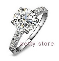 925 Silver Gem Rings For Women Round Setting Wedding Rings Plated White Gold Lady 6.5mm Hot Sale