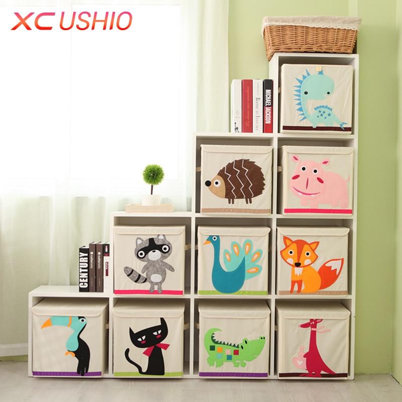 Marvelous Cartoon Animal Folding Storage Box Children Clothes Toy Sundries Organizer  Box Organic Cotton Cloth Toy Storage Bin