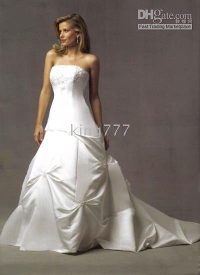 new simple beautiful embroidery big train bridal dress / Wedding Dresses