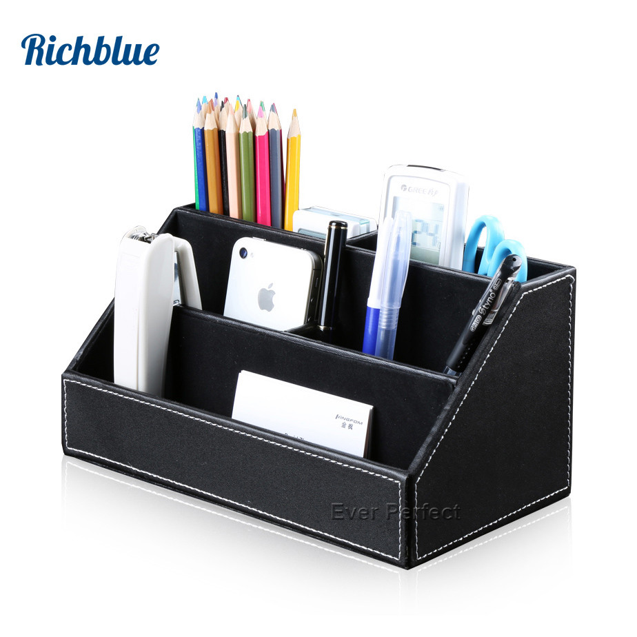 PU Kulit Desktop Organizer Stationery Stationery Box Pen Pensil Holder Alat Kawalan Jauh Peti Container