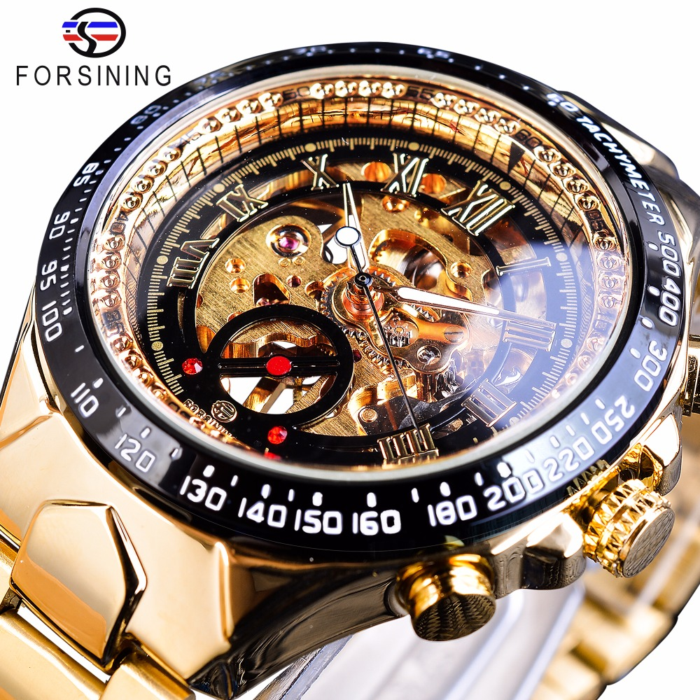 Forsining Stainless Steel Classic Series Transparent Golden Movement Steampunk Heren Mechanisch Skelethorloges Topmerk Luxe