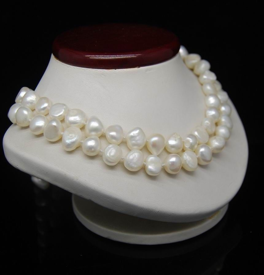 Selling jewerly >32 Long 9-10MM White Color Irregular pearl necklace>free shipping
