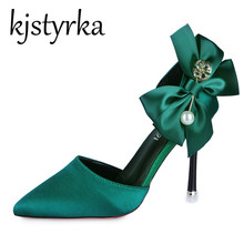 Kjstyrka New spring summer sexy big bow pointed toe women hi