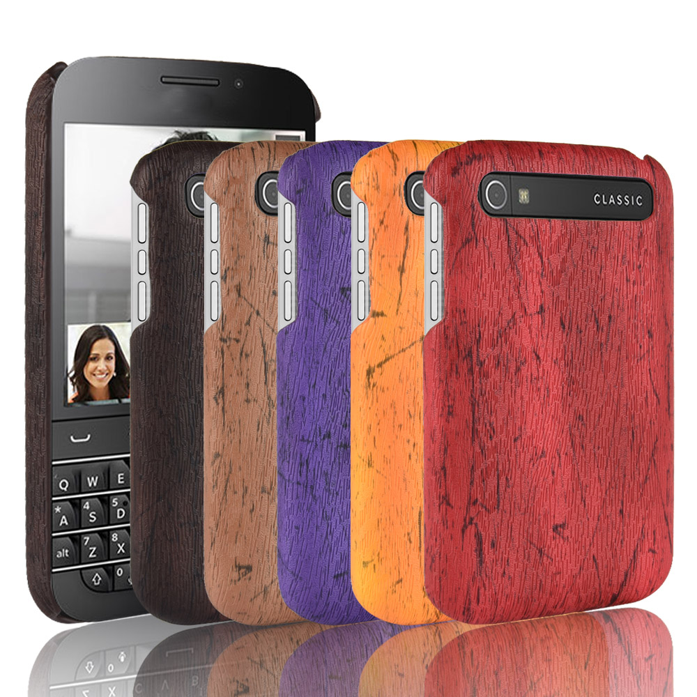 For Blackberry Q20 Classic Case Luxury hard Wood grain Leather Back Cover Cell Phone