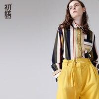 Toyouth mujeres Blusas 2018 primavera nuevas llegadas vintage turndown collar rayas gasa camisa manga larga blusa casual