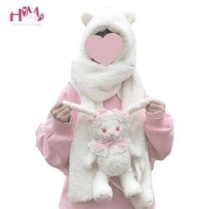 Image 1 - Foulard réchauffant pour femmes, joli ours oreilles, chapeau, peluche, écharpe à capuche, nouvelle mode, bonnet, joli cadeau pour filles
