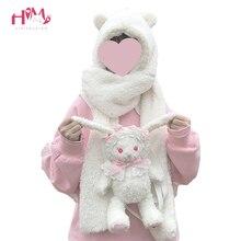 Inverno quente cachecol adorável urso orelhas macio chapéu de pelúcia com capuz cachecóis nova moda fofo animal boné cachecol agradável presente para meninas