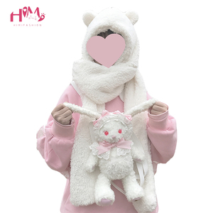 Image 1 - Women Warmer Winter Scarf Lovely Bear Ears Soft Plush Hat Hooded Scarves New Fashion Fluffy Animal Cap Scarf Nice Gift for Girls