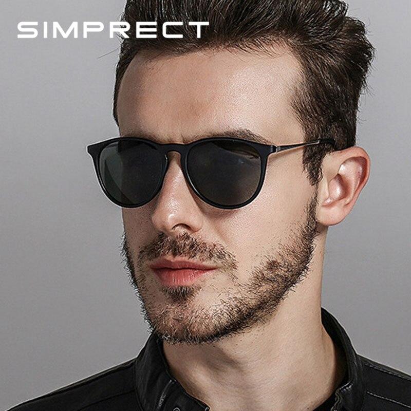 SIMPRECT 2019 lunettes De Soleil rétro hommes polarisées UV400 haute qualité conduite ronde lunettes De Soleil marque Vintage Lunette De Soleil Homme