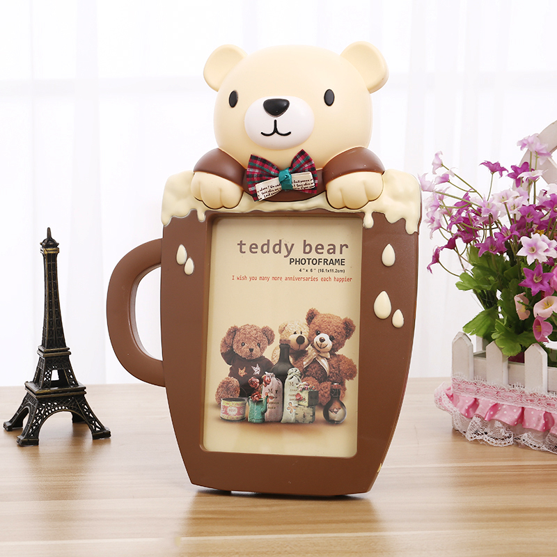 Creative 6 inch Teddy Bear Photo Frame Cartoon Picture Frame for ...