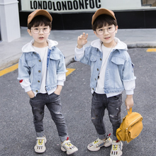 2019 New Autumn Childrens Clothing Boys Coat Children Hooded Fashion Warm Denim Jacket High Quality Kids